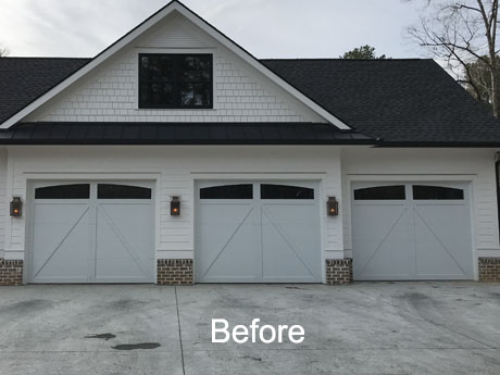 Faux garage door before