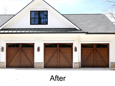 Faux garage door after