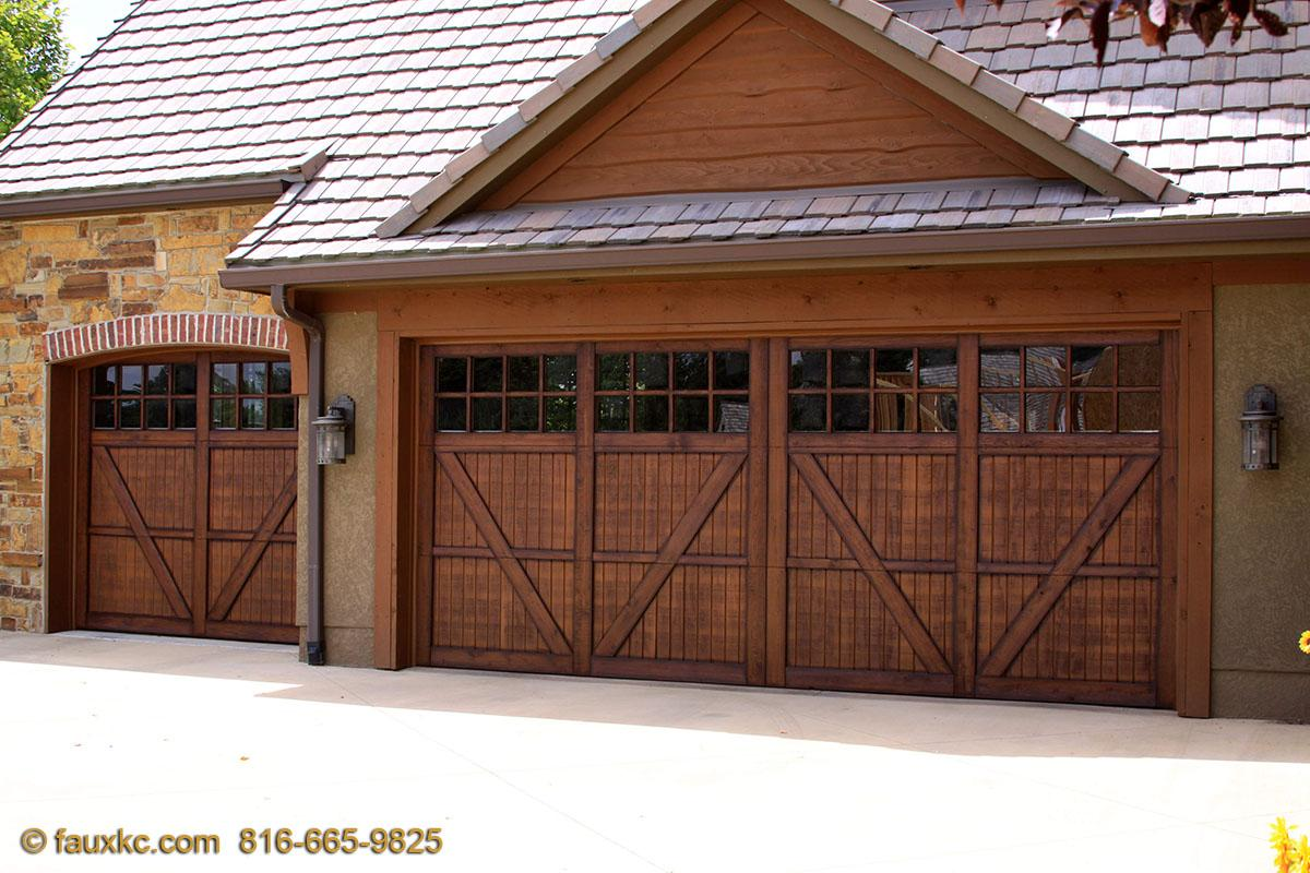 Faux wood painted garage doors - Wood Faux Finish Metal Garage Doors 54 10323 S Highland Cir Olathe Ks 66061
