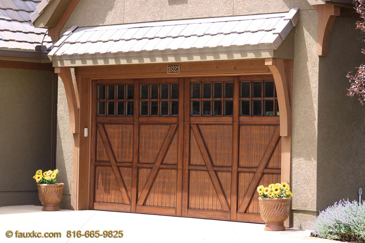Faux wood painted garage doors - Wood Faux Finish Metal Garage Doors 59 10323 S Highland Cir Olathe Ks 66061