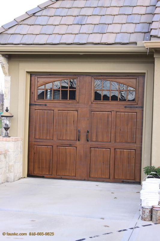 Painting aluminum garage doors to look like wood home for Paint garage door to look like wood