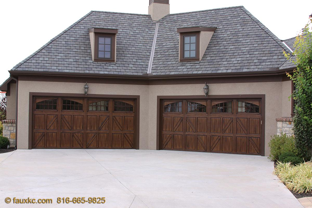 Wood faux finish metal garage doors 33 fauxkc for Faux wood garage doors prices