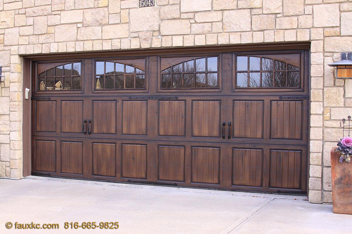 Garage doors fauxkc for Stained garage doors